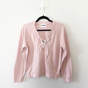 Monrow Lace Up Sweatshirt Rose Pink